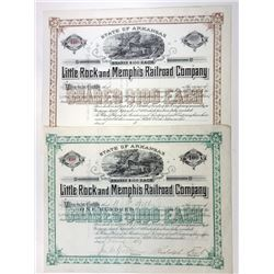 Little Rock and Memphis Railroad Co. 1889 Stock Certificate Pair.