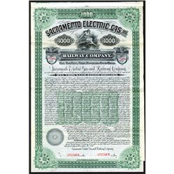 Sacramento Electric, Gas and  Railway Co. 1897 Specimen Bond.