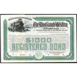 Rio Grande Western Railway Co. 1909 Specimen Bond.