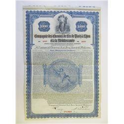 Compagnie des Chemins de Fer de Paris a Lyon et a la Mediterranee, 1922 Specimen Bond