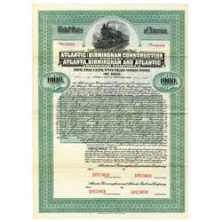 Atlantic & Birmingham Construction Co. Atlanta, Birmingham & Atlantic Railroad Co., 1912 Specimen Bo