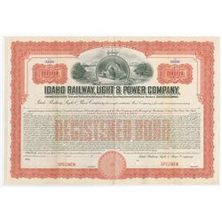Idaho Railway, Light & Power Co., 1951 Specimen Bond