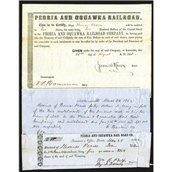 Peoria and Oquawka Railroad Issued Shares. 1851.
