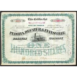 Peoria, Decatur & Evansville Railway Co., 1893 Issued Stock Certificate