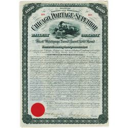 Chicago, Portage and Superior Railway Co., 1881 Issued Bond.