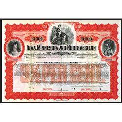 Iowa, Minnesota and Northwestern Railway Co., 1900, $10,000 Specimen Bond.