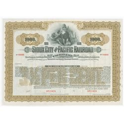 Sioux City and Pacific Railroad Co., 1901 Specimen Bond