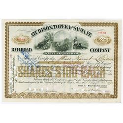 Atchinson, Topeka and Santa Fe Railroad Co., 1890 Stock Certificate.