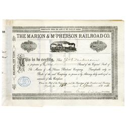 Marion & McPherson Railroad Co. 1880 I/C Stock Certificate.