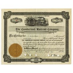 Cumberland Railroad Co., 1905 Cancelled Stock Certificate