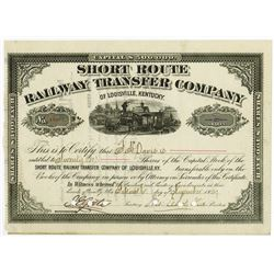 Short Route Railway Transfer Co., 1889 Cancelled Stock Certificate