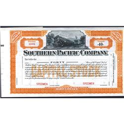 Southern Pacific Co., 1914, 40 Shares Specimen Stock Certificate With Dividend Coupons.