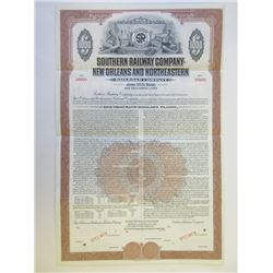 Southern Railway Co. - New Orleans an Northeastern Railroad Co., 1952 Specimen Bond