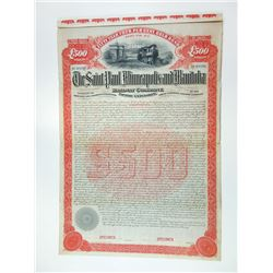 Saint Paul, Minneapolis and Manitoba Railway Co., Pacific Extension, 1890 Specimen Bond