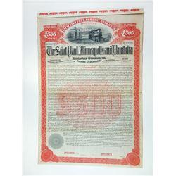 Saint Paul, Minneapolis and Manitoba Railway Co., Pacific Extension, 1890 Specimen Bond