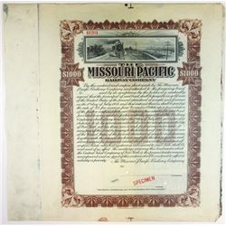 Missouri Pacific Railway Co., 1906 Specimen Bond Extension Certificate.
