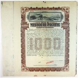 Missouri Pacific Railway Co., 1906 Specimen Bond Extension Certificate.