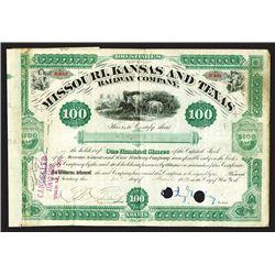Missouri, Kansas & Texas Railway Co. 1880 Stock Certificate with Jay Gould Signature..