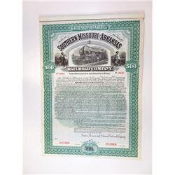 Southern Missouri and Arkansas Railroad Co., 1899 Specimen Bond