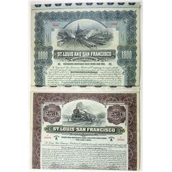 St. Louis and San Francisco Railroad Co., 1901-1916 Pair of Specimen Bonds