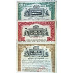 St. Louis and San Francisco Railroad Co., 1907 Trio of Specimen Bonds