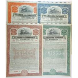 St. Louis and San Francisco Railroad Co., 1916 Quartet of Specimen Bonds