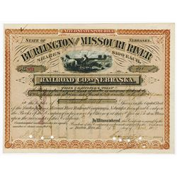 Burlington and Missouri River Railroad Co. in Nebraska, 1879 Stock Certificate.