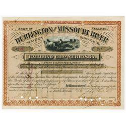 Burlington and Missouri River Railroad Co. in Nebraska, 1879 Stock Certificate.