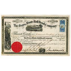 Ferro Monte Rail Road Co., 1870 I/C Stock Certificate