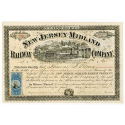 New Jersey Midland Railway Co., 1872 Issued Stock Certificate