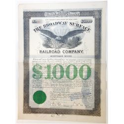 Broadway Surface Railroad Co. 1885 Issued Bond.