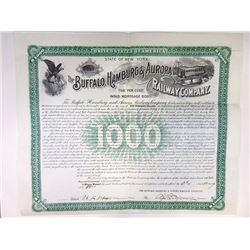 Buffalo, Hamburg & Aurora Railway Co., 1900 Issued Bond.