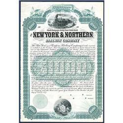 New York & Northern Railway Co., 1887 Specimen Bond.