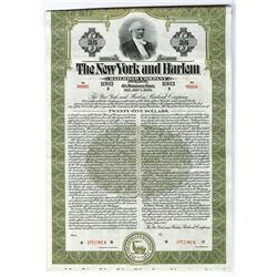 New York and Harlem River Railroad Co., 1943 Low Denomination $25 Specimen Bond.