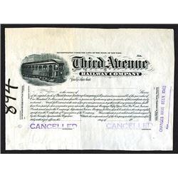 Third Avenue Railway Co. 1910-30 Proof Stock Certificate.