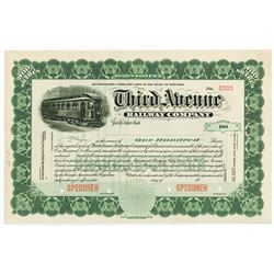 Third Avenue Railway Co., ca.1900-1910 Specimen Stock Certificate