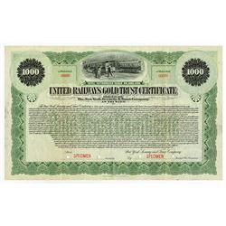 United Railways Gold Trust, 1899 Specimen Bond.