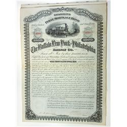 Buffalo, New York and Philadelphia Railway Co. 1881 Issued Coupon Bond.