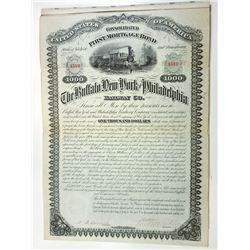 Buffalo, New York and Philadelphia Railway Co. 1881 Issued Coupon Bond.