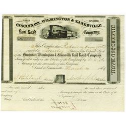 Cincinnati, Wilmington & Zanesville Rail Road Co., 1862 Issued Stock Certificate