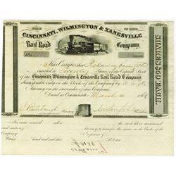 Cincinnati, Wilmington & Zanesville Rail Road Co., 1862 Issued Stock Certificate