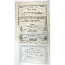 Collection of Little Miami Rail Road Co. Issued and Cancelled Bonds ca.1846-1868 5 Pieces.