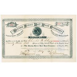 Dayton Street Rail Road Co., 1890 Stock Certificate.