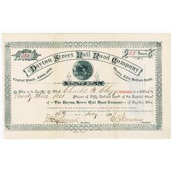 Dayton Street Rail Road Co., 1890 Stock Certificate.
