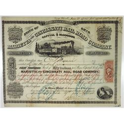 Marietta and Cincinnati Rail Road Co., 1866 I/C Stock Certificate.