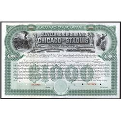 Cleveland, Cincinnati, Chicago and St. Louis Railway Co., 1890 Specimen Bond.