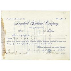 Loyalsock Railroad Co., 1884 Issued Stock Certificate.