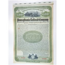 Pennsylvania Railroad Co., 1908 Specimen Bond