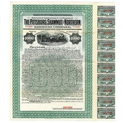 Pittsburg, Shawmut and Northern Railroad Co. 1910 Specimen Certificate of Indebtedness of the Receiv