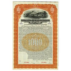 Charleston & Western Carolina Railway Co., 1914 Specimen Bond